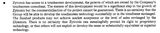 ZYT Admission document -- risks -- patent