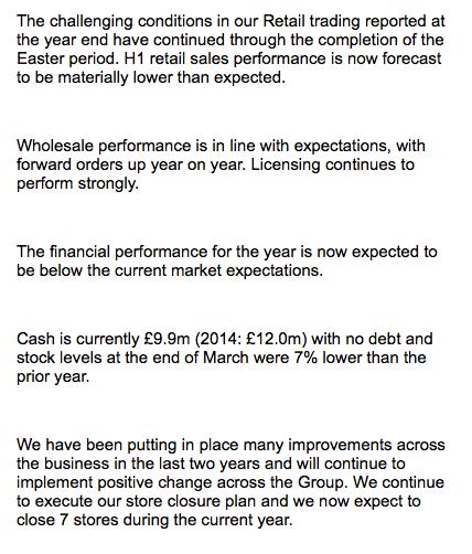 FCCN trading update Apr15