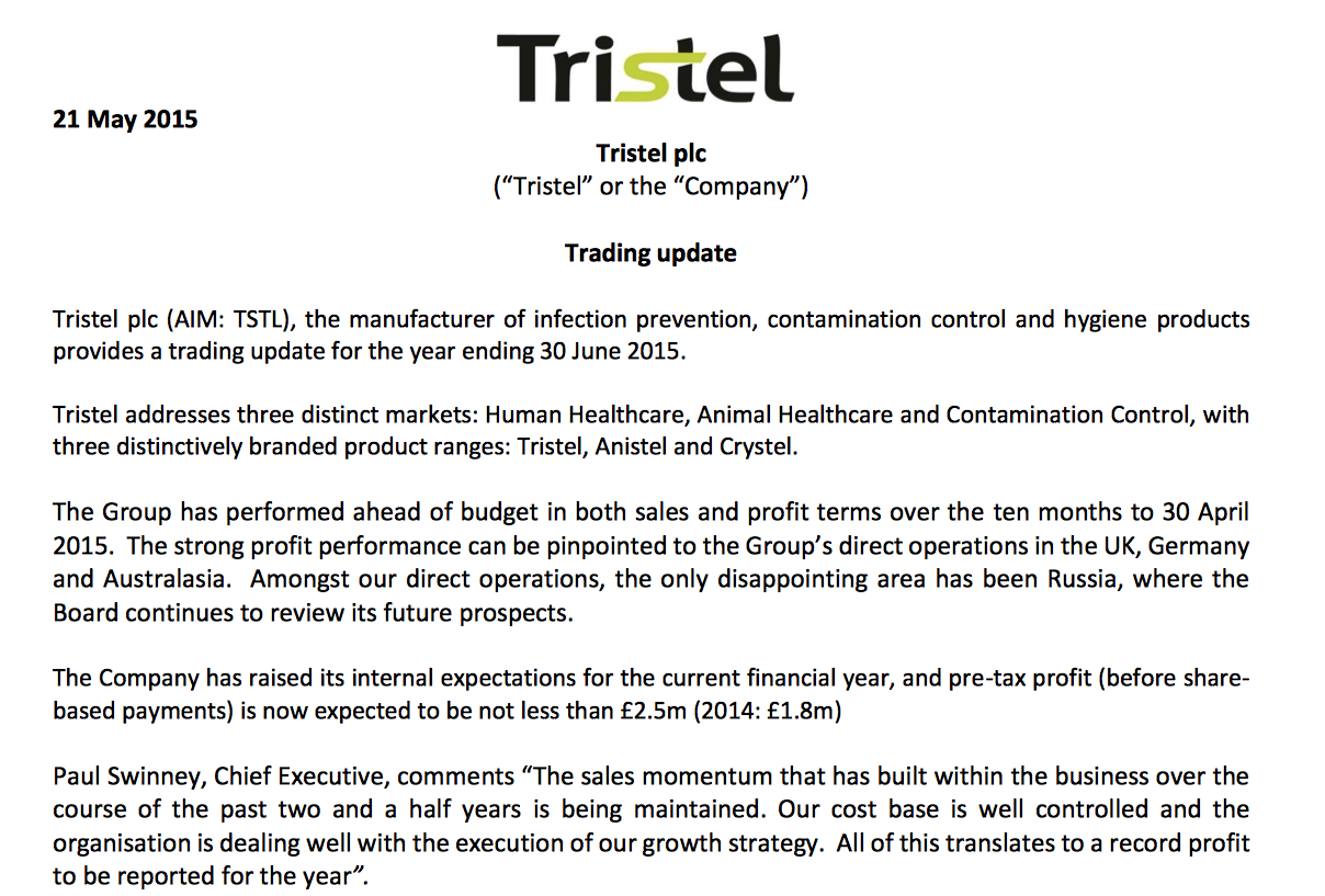 TSTL trading statement May 2015