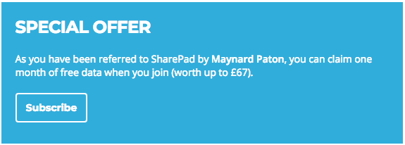 sharepad special offer one month of free data maynard paton