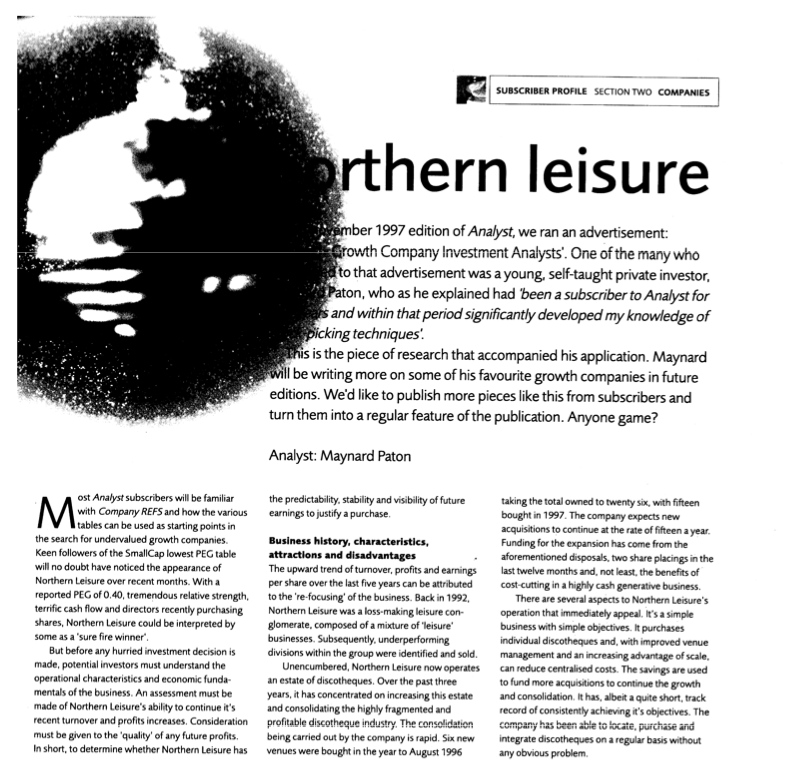 maynard paton fire retire early analyst magazine northern lesiure
