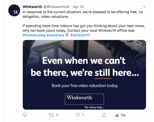 wink winkworth fy 2019 results twitter lockdown