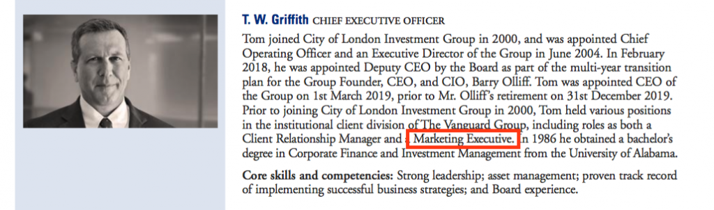 clig city of london investment fy 2020 results chief exec bio