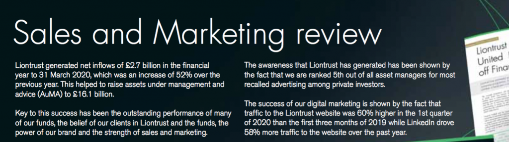 clig city of london investment fy 2020 results liontrust sales and marketing