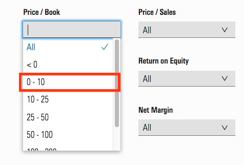 free stock screeners morningstar price to book