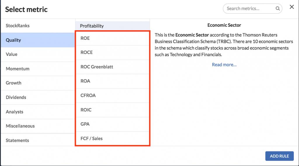sharepad best stock screener versus stockopedia screener ratio
